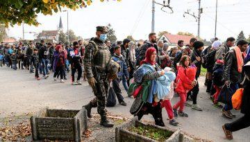 Syrian refugees arriving in Slovenia.