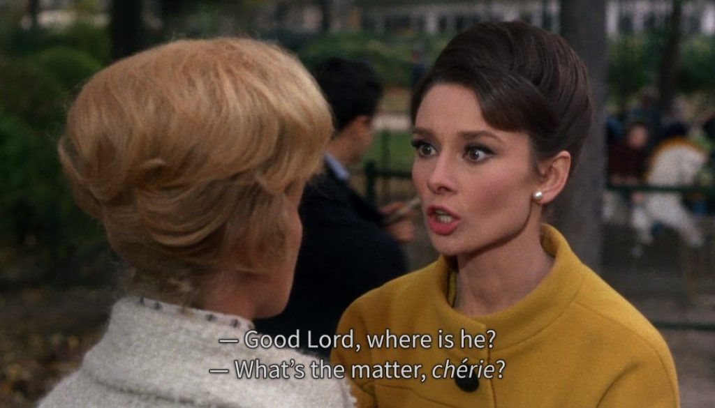 "An example of subtitles in the 1963 film ""Charade."""